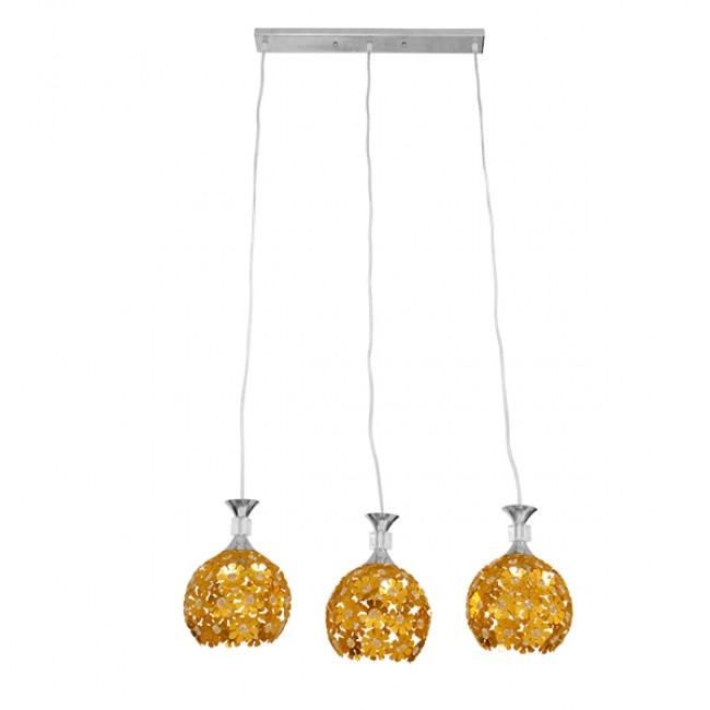 Μοντέρνο Κρεμαστό Φωτιστικό Οροφής Τρίφωτο Χρυσό Μεταλλικό με Κρύσταλλα GloboStar MARGARO 01671 - 3
