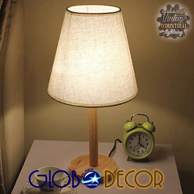 Μοντέρνο Επιτραπέζιο Φωτιστικό Πορτατίφ Μονόφωτο Ξύλινο με Λευκό Καπέλο Φ21 GloboStar NAPHIE 01208 - 14