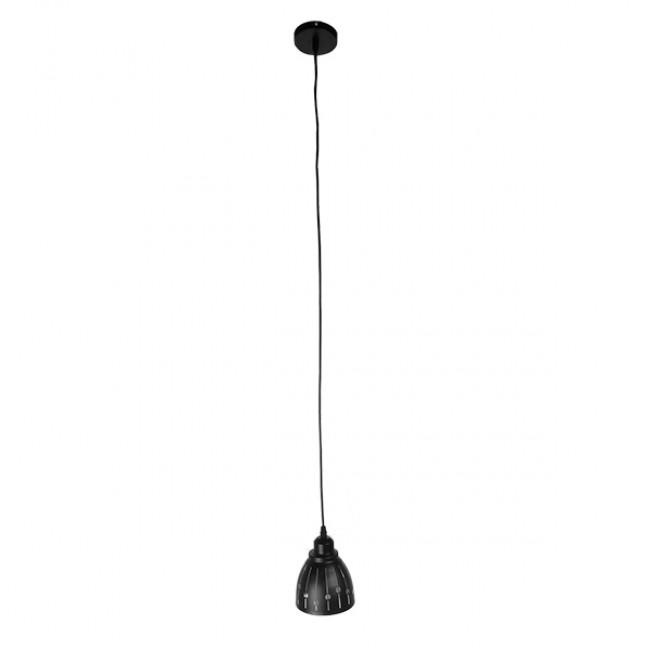Μοντέρνο Κρεμαστό Φωτιστικό Οροφής Μονόφωτο Μεταλλικό Μαύρο Λευκό Καμπάνα Φ13 GloboStar HUNTON 01476 - 2