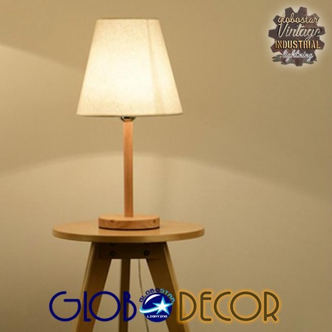Μοντέρνο Επιτραπέζιο Φωτιστικό Πορτατίφ Μονόφωτο Ξύλινο με Λευκό Καπέλο Φ21 GloboStar NAPHIE 01208 - 7