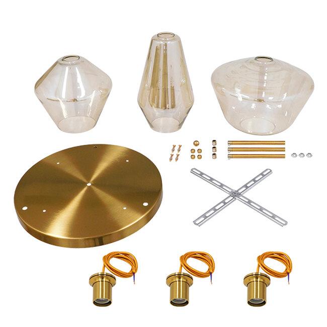 Μοντέρνο Κρεμαστό Φωτιστικό Οροφής Τρίφωτο Μελί Χρυσό με Γυαλί Φ50  ACATIA 00978 - 6