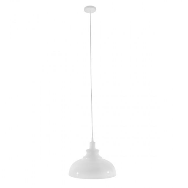 Μοντέρνο Κρεμαστό Φωτιστικό Οροφής Μονόφωτο Λευκό Χρυσό Μεταλλικό Καμπάνα Φ35 GloboStar OBERYN 00999 - 2