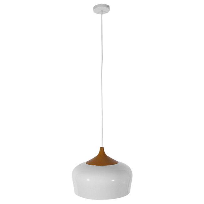 Μοντέρνο Κρεμαστό Φωτιστικό Οροφής Μονόφωτο Λευκό Μεταλλικό Καμπάνα Φ35  VILI WHITE 01260 - 2