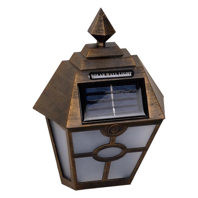 GloboStar® 71492 Αυτόνομο Ηλιακό Φωτιστικό Τοίχου Μπρονζέ Σκουριά LED SMD 1W 100lm με Ενσωματωμένη Μπαταρία 600mAh - Φωτοβολταϊκό Πάνελ με Αισθητήρα Ημέρας-Νύχτας IP65 Ψυχρό Λευκό 6000K - 5