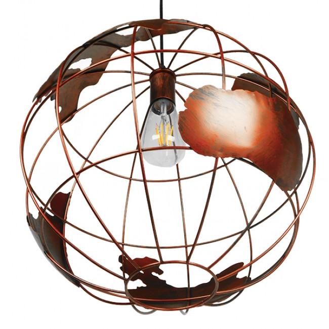 Vintage Industrial Κρεμαστό Φωτιστικό Οροφής Μονόφωτο Καφέ Σκουριά Μεταλλικό Πλέγμα Φ40  EARTH RUST 40CM 01665 - 5