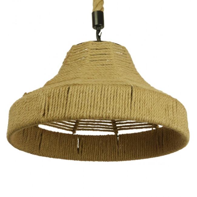 Vintage Κρεμαστό Φωτιστικό Οροφής Μονόφωτο Καμπάνα με Μπεζ Σχοινί Φ41 GloboStar DOGMA 01609 - 6