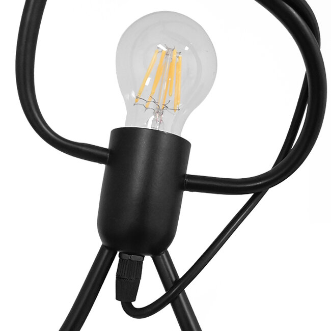 SET Μοντέρνο Κρεμαστό Φωτιστικό Οροφής Τρίφωτο Μαύρο Μεταλλικό Φ45  LITTLE MAN BLACK 01655 - 3