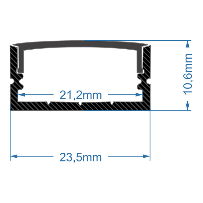 GloboStar® 70810-1M Επιφανειακό Προφίλ Αλουμινίου Μαύρο με Μαύρο Οπάλ Κάλυμμα για 2 Σειρές Ταινίας LED Πατητό - Press On 1 Μέτρο - 5