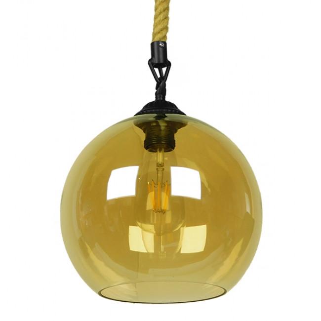 Μοντέρνο Κρεμαστό Φωτιστικό Οροφής Μονόφωτο με 1 Μέτρο Μπεζ Σχοινί Γυάλινο Μελί Διάφανο Φ25 GloboStar LENHAM 01668 - 1