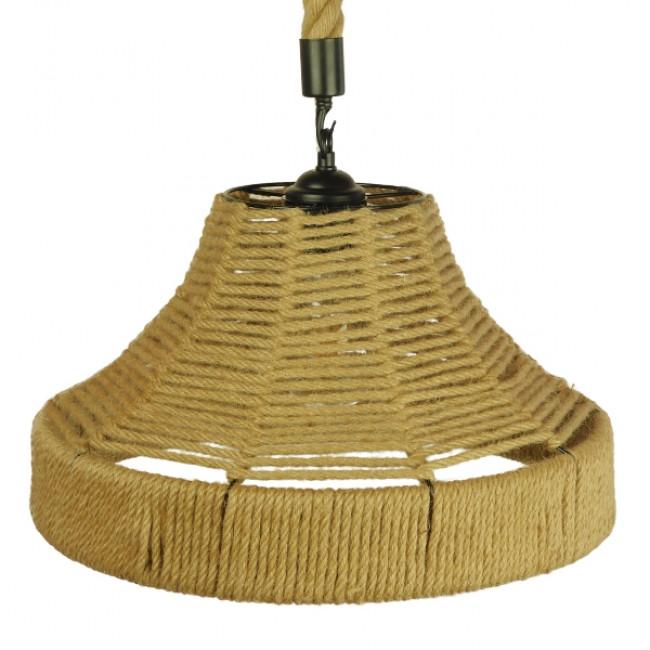Vintage Κρεμαστό Φωτιστικό Οροφής Μονόφωτο Καμπάνα με Μπεζ Σχοινί Φ41 GloboStar DOGMA 01609 - 4