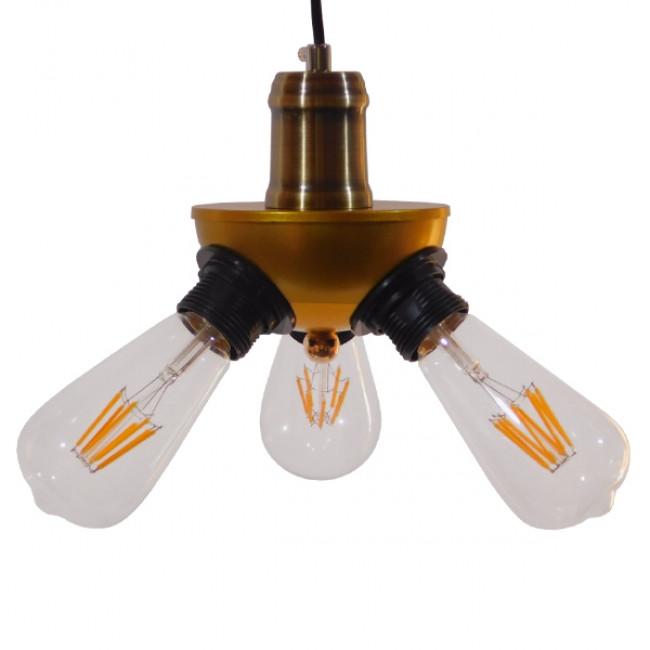 Vintage Ιndustrial Κρεμαστό Φωτιστικό Οροφής Τρίφωτο Χρυσό Μεταλλικό Φ12 GloboStar COPPER 01076 - 3