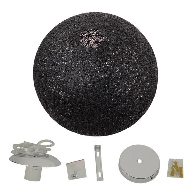 Vintage Κρεμαστό Φωτιστικό Οροφής Μονόφωτο Μαύρο Ξύλινο Ψάθινο Rattan Φ60  TERELL 01364 - 7