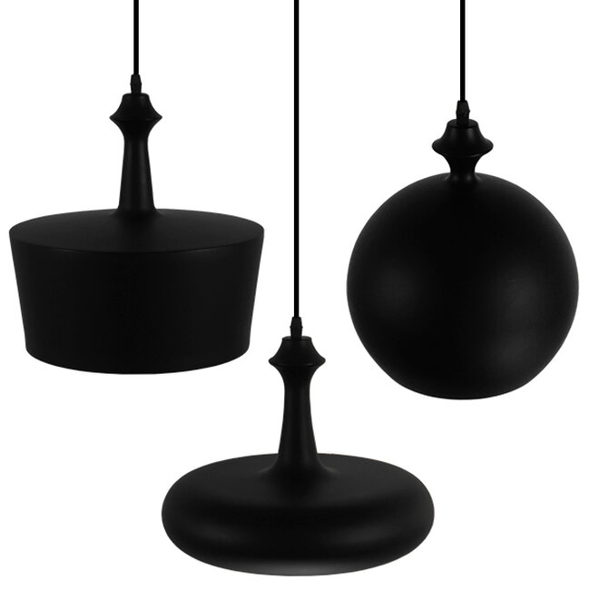 SET 3 Μοντέρνα Κρεμαστά Φωτιστικά Οροφής Μονόφωτα Μαύρα Μεταλλικά Καμπάνα  ROCKFORD 01287 - 5
