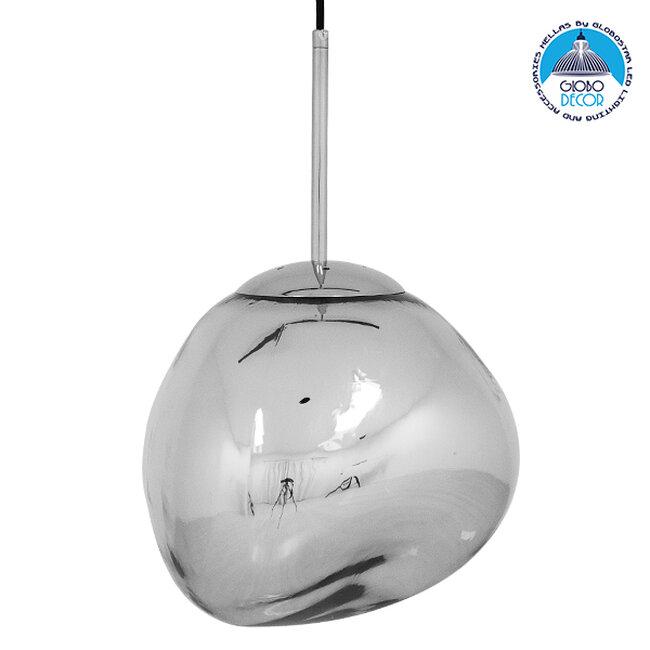 Μοντέρνο Κρεμαστό Φωτιστικό Οροφής Μονόφωτο Γυάλινο Ασημί Νίκελ Φ28  DIXXON CHROME 01460 - 1