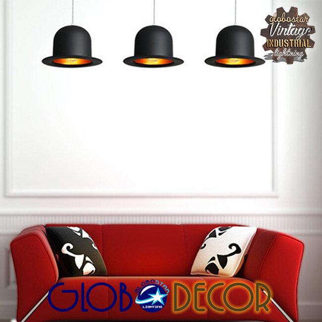 Vintage Κρεμαστό Φωτιστικό Οροφής Μονόφωτο Μαύρο Μεταλλικό Καμπάνα Φ26  CHARLO 01214 - 8