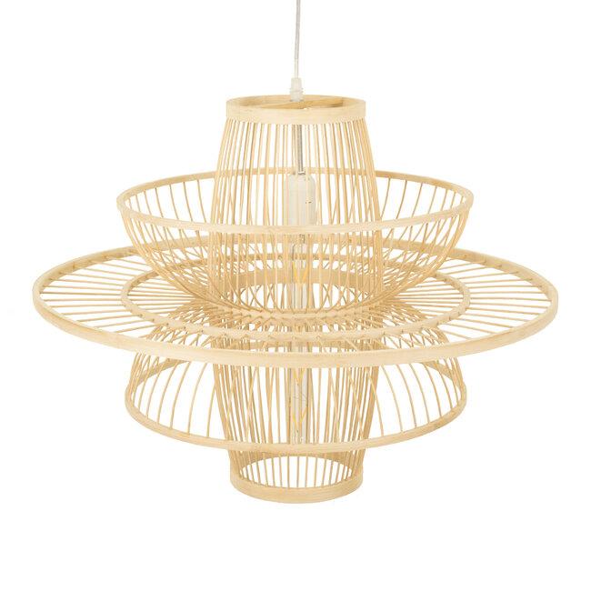 BALI 00862 Vintage Κρεμαστό Φωτιστικό Οροφής Μονόφωτο Μπεζ Ξύλινο Bamboo Φ60 x Y45cm - 7