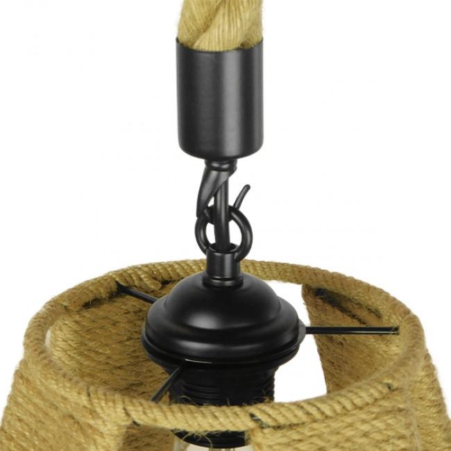 Vintage Κρεμαστό Φωτιστικό Οροφής Μονόφωτο Πλέγμα με Μπεζ Σχοινί Φ30 GloboStar POLIA 01608 - 8