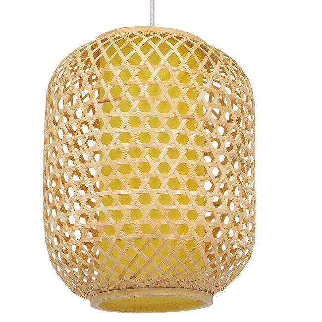 Vintage Κρεμαστό Φωτιστικό Οροφής Μονόφωτο Καφέ Ξύλινο Bamboo Φ30  MAURITIUS Φ30 00899 - 2