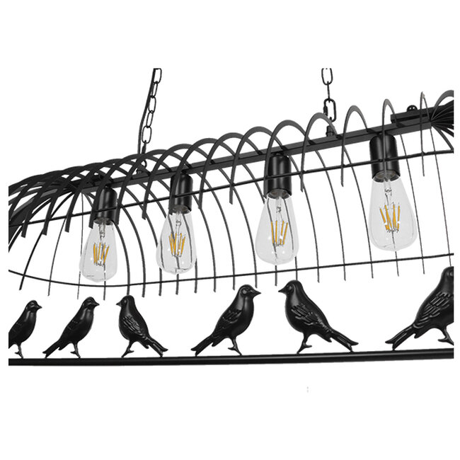 Vintage Industrial Κρεμαστό Φωτιστικό Οροφής Πολύφωτο Mαύρο Μεταλλικό Πλέγμα  NEST 01255 - 5
