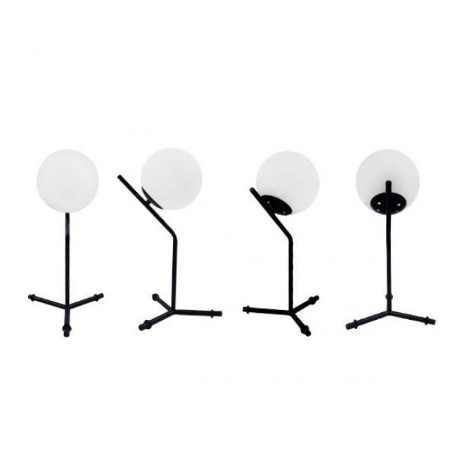 Μοντέρνο Επιτραπέζιο Φωτιστικό Πορτατίφ Μονόφωτο Μαύρο Μεταλλικό με Λευκό Γυαλί Φ23 GloboStar ELFRIS 01100 - 2
