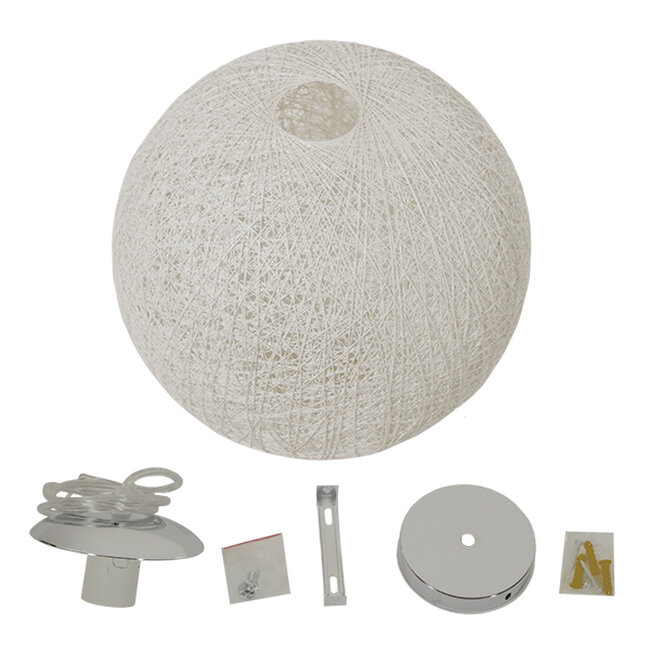 Vintage Κρεμαστό Φωτιστικό Οροφής Μονόφωτο Λευκό Ξύλινο Ψάθινο Rattan Φ60  KETTLE 01363 - 7