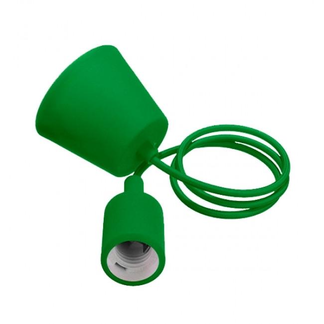 Πράσινο Κρεμαστό Φωτιστικό Οροφής Σιλικόνης με Υφασμάτινο Καλώδιο 1 Μέτρο E27 GloboStar Green 91007 - 1