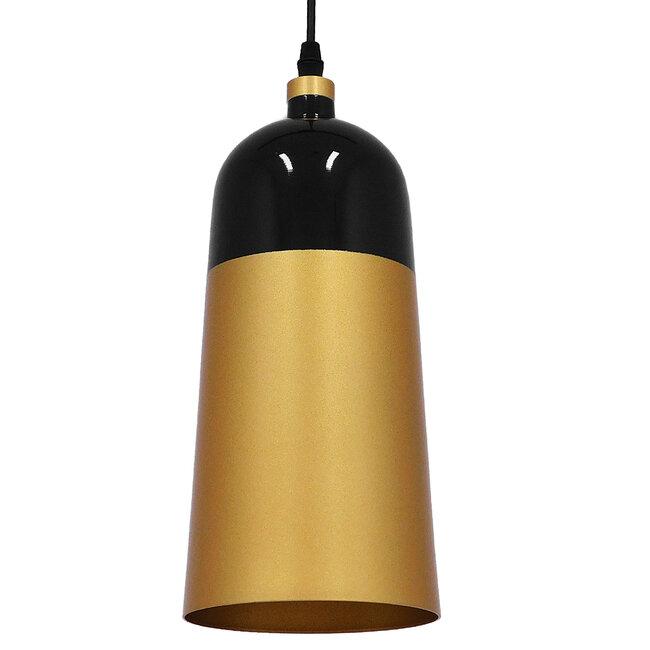 Μοντέρνο Κρεμαστό Φωτιστικό Οροφής Μονόφωτο Μαύρο - Χρυσό Μεταλλικό Καμπάνα Φ14  PALAZZO GOLD BLACK 01523 - 2