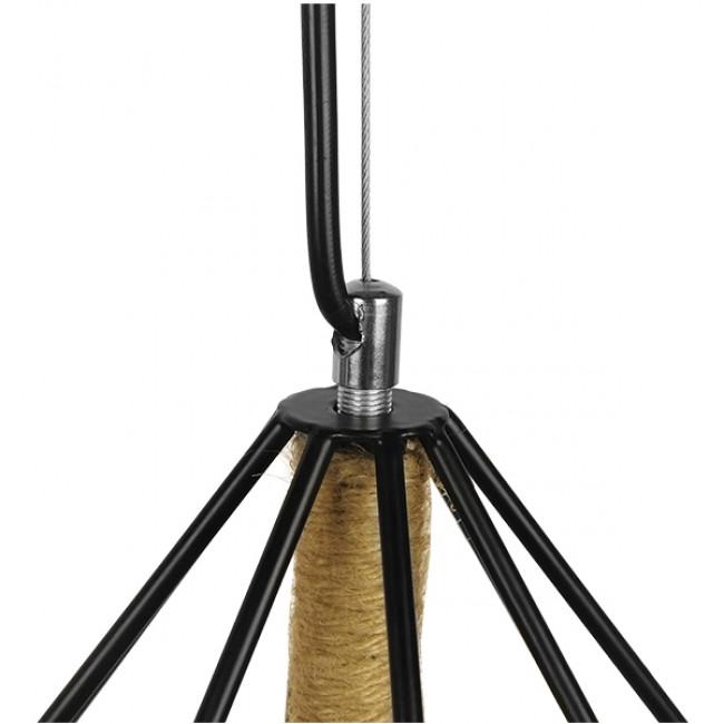 Vintage Κρεμαστό Φωτιστικό Οροφής Μονόφωτο Μαύρο Μεταλλικό με Μπεζ Σχοινί Φ50 GloboStar CONCRETE 01422 - 6