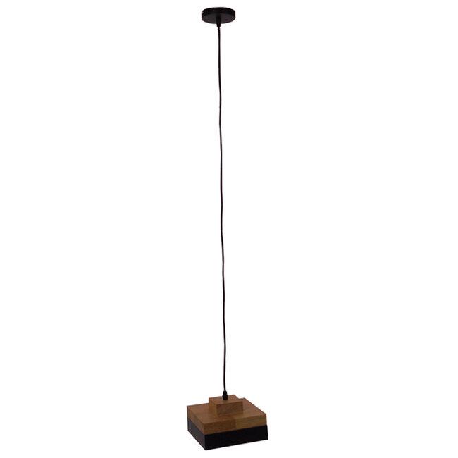 Μοντέρνο Κρεμαστό Φωτιστικό Οροφής Μονόφωτο Μαύρο Μεταλλικό με Φυσικό Ξύλο Καμπάνα Φ18 GloboStar LAOTH 01234 - 2