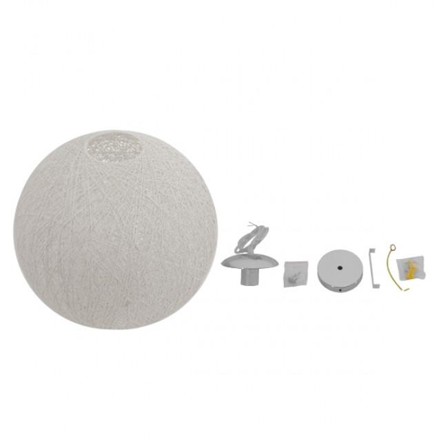 Vintage Κρεμαστό Φωτιστικό Οροφής Μονόφωτο Λευκό Ξύλινο Ψάθινο Rattan Φ40  SISO 01359 - 5