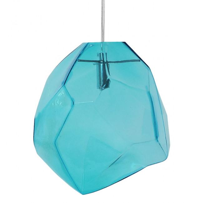 Μοντέρνο Κρεμαστό Φωτιστικό Οροφής Μονόφωτο Γυάλινο Γαλάζιο Διάφανο GloboStar LACRIMA 01306 - 3