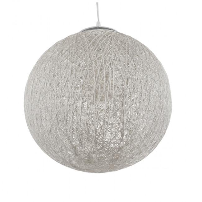 Vintage Κρεμαστό Φωτιστικό Οροφής Μονόφωτο Λευκό Ξύλινο Ψάθινο Rattan Φ40  SISO 01359 - 1