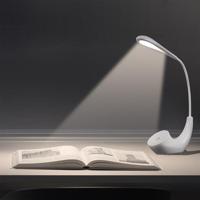 TESLER 76500 Μοντέρνο Επαναφορτιζόμενο USB Φωτιστικό Γραφείου LED 2.8 Watt 550lm 5V Αφής με Ενσωματωμένη Μπαταρία 1800mAh Μονόφωτο Λευκό Μεταλλικό Φυσικό Λευκό 4500K - 6
