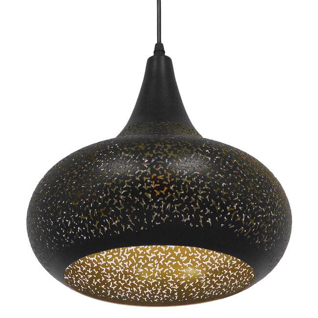 Μοντέρνο Κρεμαστό Φωτιστικό Οροφής Μονόφωτο Μαύρο με Χρυσό Μεταλλικό Καμπάνα Φ30  JANIS 01590 - 7