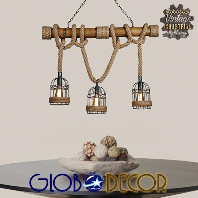 Vintage Κρεμαστό Φωτιστικό Οροφής Τρίφωτο Καφέ Ξύλινο Bamboo με Μπεζ Σχοινί  LILO 01149 - 6