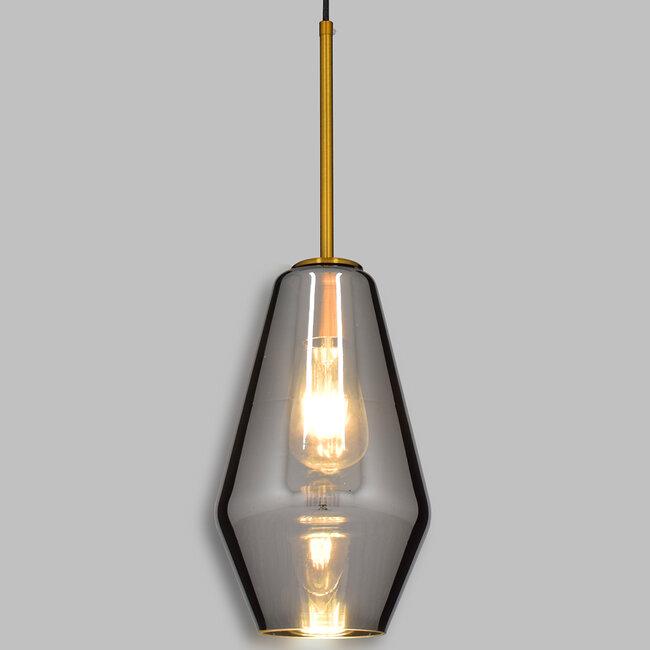 GloboStar® AMARIS 00874 Μοντέρνο Κρεμαστό Φωτιστικό Οροφής Μονόφωτο Γυάλινο Φιμέ Νίκελ Φ17 x 30CM - 2