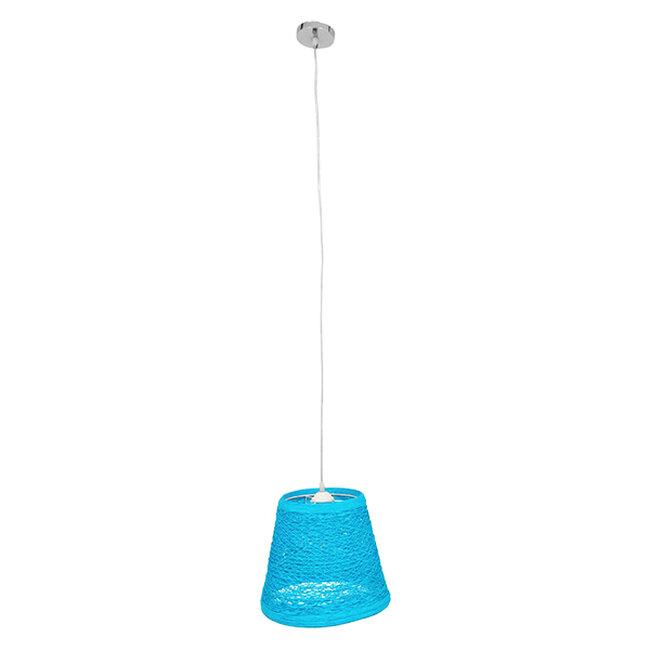 Vintage Κρεμαστό Φωτιστικό Οροφής Μονόφωτο Θαλασσί Ξύλινο Ψάθινο Rattan Φ32  ARGENT SEA BLUE 00995 - 2