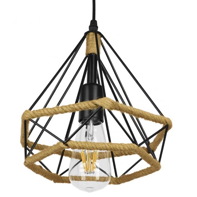 Vintage Κρεμαστό Φωτιστικό Οροφής Μονόφωτο Μαύρο Μεταλλικό με Μπεζ Σχοινί Φ25 GloboStar FLUTED 01421 - 4