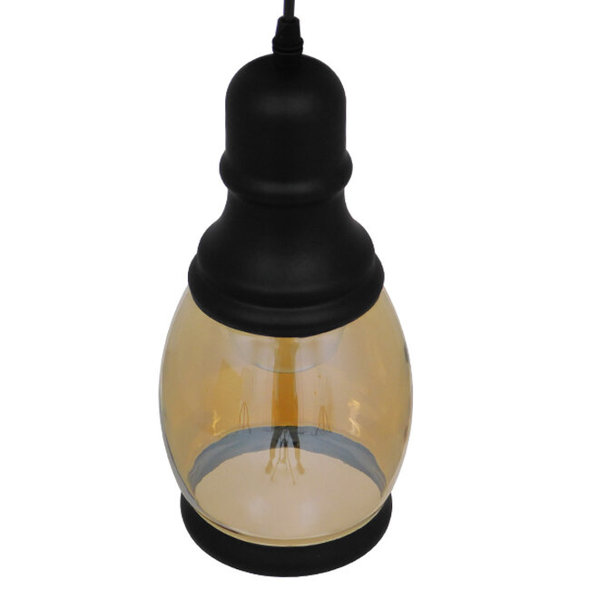 Vintage Κρεμαστό Φωτιστικό Οροφής Μονόφωτο Γυάλινο Μελί Διάφανο Φ14  JACK 01507 - 4