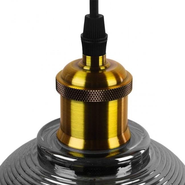 Vintage Κρεμαστό Φωτιστικό Οροφής Μονόφωτο Μαύρο Γυάλινο Διάφανο Καμπάνα με Χρυσό Ντουί Φ14 GloboStar SEGRETO BLACK 01449 - 6