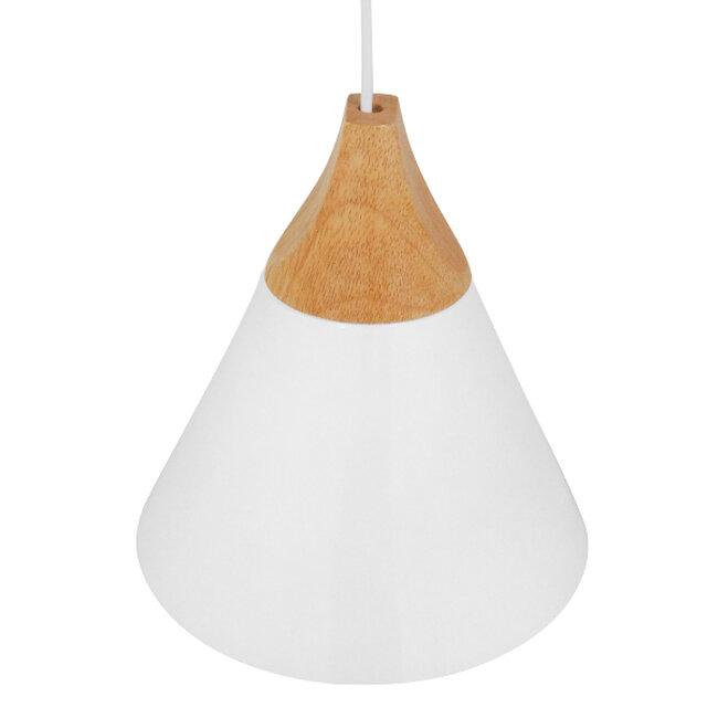 Μοντέρνο Κρεμαστό Φωτιστικό Οροφής Μονόφωτο Λευκό Μεταλλικό με Ξύλο Καμπάνα Φ23  SHADE WHITE 00907 - 4
