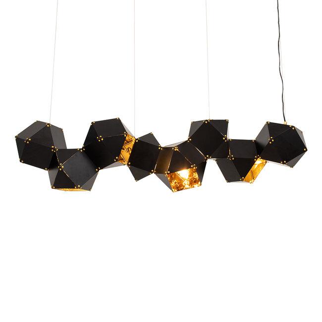 WELLES Replica 00798 Μοντέρνο Κρεμαστό Φωτιστικό Οροφής Πολύφωτο Μεταλλικό Μαύρο Χρυσό Μ130 x Π32 x Υ30cm - 4