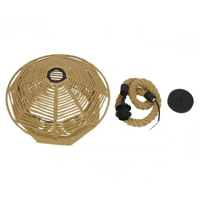 Vintage Κρεμαστό Φωτιστικό Οροφής Μονόφωτο Πλέγμα με Μπεζ Σχοινί Φ36 GloboStar SPIRIT 01607 - 10