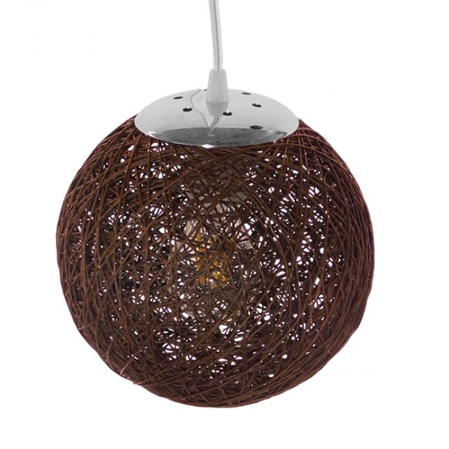 Vintage Κρεμαστό Φωτιστικό Οροφής Μονόφωτο Καφέ Ξύλινο Ψάθινο Rattan Φ20  OHIO 01354 - 4