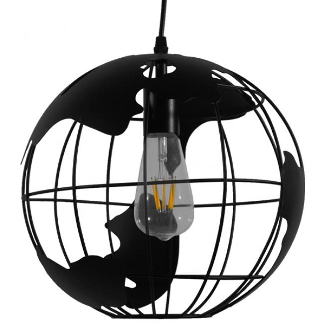 Vintage Industrial Κρεμαστό Φωτιστικό Οροφής Μονόφωτο Μαύρο Μεταλλικό Πλέγμα Φ30  WORLD 01205 - 3