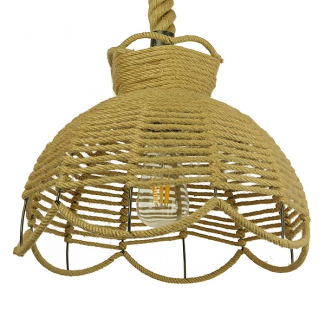 Vintage Κρεμαστό Φωτιστικό Οροφής Μονόφωτο Πλέγμα με Μπεζ Σχοινί Φ34 GloboStar VENIER 01610 - 1