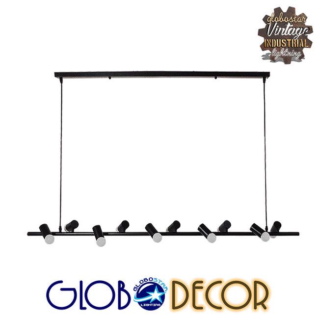 Μοντέρνο Κρεμαστό Φωτιστικό Οροφής Πολύφωτο Μαύρο Μεταλλικό Ράγα GloboStar ALFREDA 01242 - 1