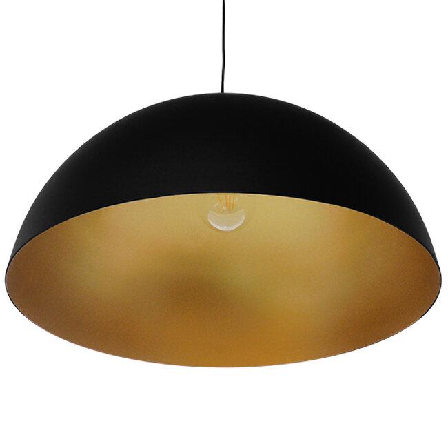 Μοντέρνο Κρεμαστό Φωτιστικό Οροφής Μονόφωτο Μαύρο Χρυσό Μεταλλικό Καμπάνα Φ60  DIADEMA 01342 - 7