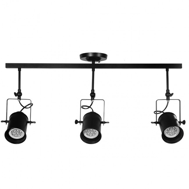 Vintage Φωτιστικό Οροφής Τρίφωτο Μαύρο Μεταλλικό Ράγα  HOLLYWOOD 01155 - 2