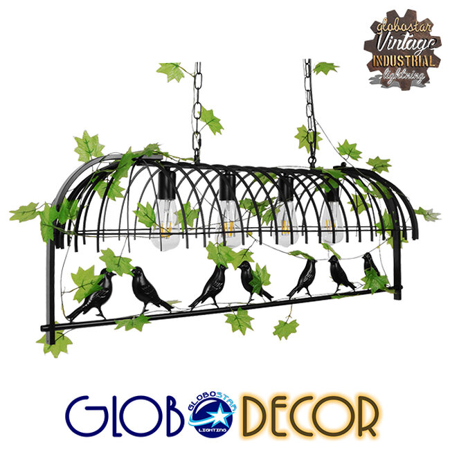 Vintage Industrial Κρεμαστό Φωτιστικό Οροφής Πολύφωτο Mαύρο Μεταλλικό Πλέγμα  NEST 01255 - 1